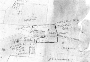 Drawing supplied by James Stewart-Moore in 2013 matching a survey map of 1836 showing the location of the Dempsey home immediately prior to James Dempsey and his family emigrating to Australia.