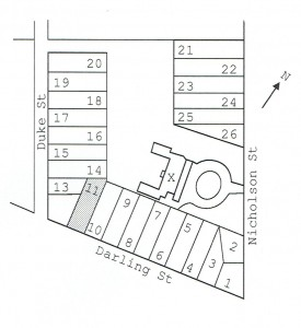 Location of James Dempsey's land purchase (Lot 11) from Nicholson's Balmain subdivision